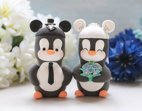 Mouse ears hats Penguins cake toppers wedding - cartoon characters black white bride groom wedding gift cornflower blue pink cute funny