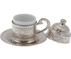 Copper Turkish Coffee Espresso Ottoman Cup & Saucer Set (Silver)