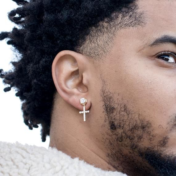 Dangle Iced Round Gold Sterling Silver Hanging Stud Cross Hoop | Etsy | Mens  diamond earrings, Mens earrings hoop, Men earrings