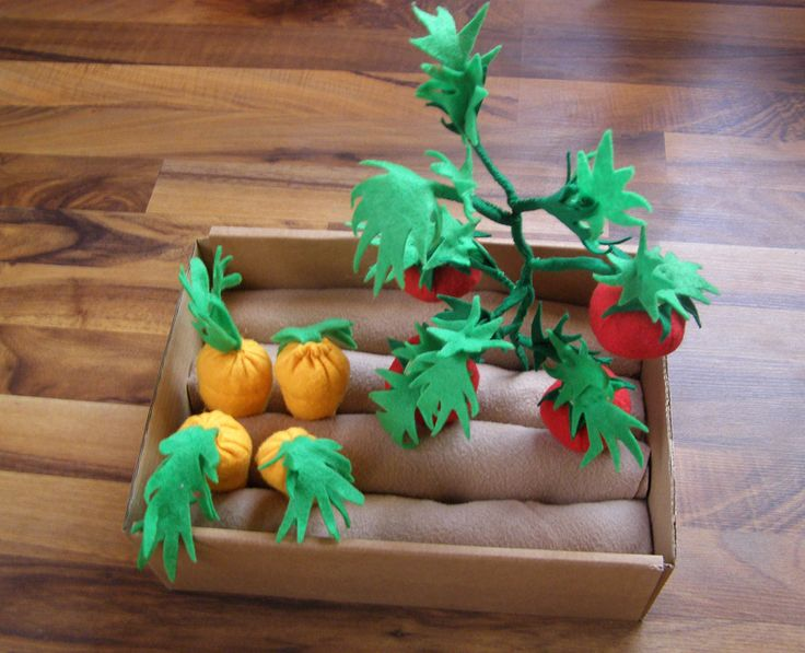 Felt garden (4 felt carrots and 1 tomato plant with attached 4 tomatoes)