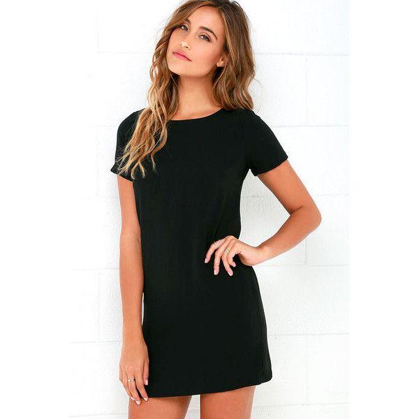 Shift and Shout Black Shift Dress ($48) ❤ liked on Polyvore featuring dresses, black, braid dress, zipper back dress, round neck dress, shift dress and short-sleeve shift dresses