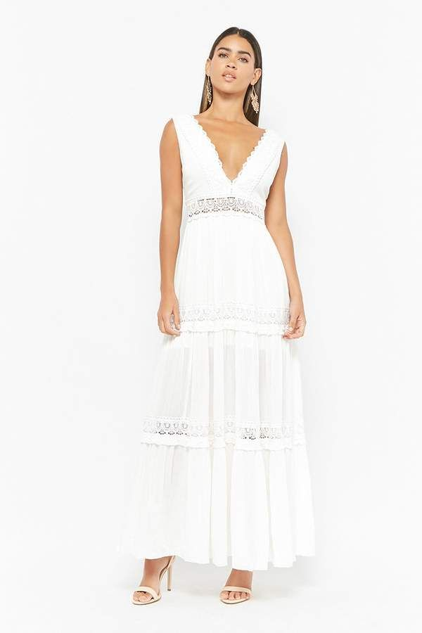 9b138e6e3c8 Forever 21 Crochet-Trim Maxi Dress