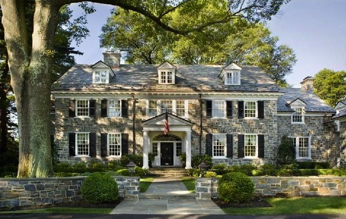 A stacked stone georgian revival style home in moorestown for Stacked stone house