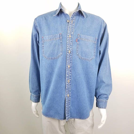 Levi S Red Tab Vintage 90s Men S Denim Shirt Long Denim Shirt Men Mens Denim Menswear