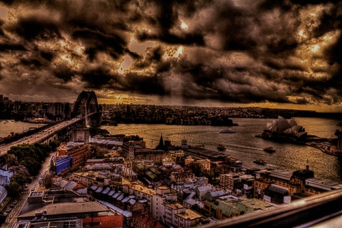 Canvas Print -Sydney Harbour Bridge and Opera House from the Rocks