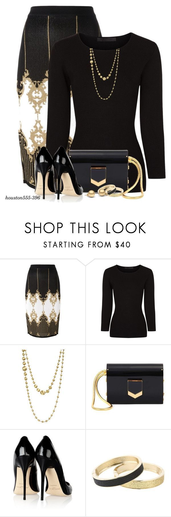 """Jimmy Choo Matching Bag & Shoes"" by houston555-396 ❤ liked on Polyvore featuring Balmain, Alexander Wang, Marco Bicego, Jimmy Choo and Betsey Johnson"
