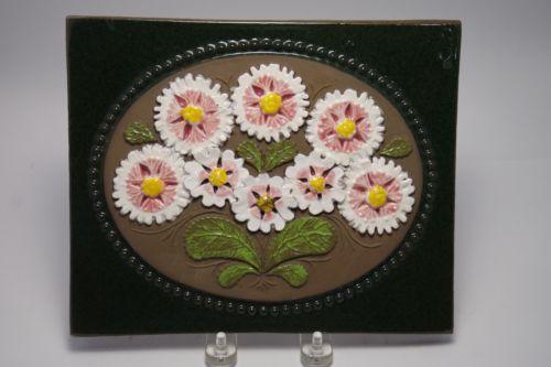Signed-Flowers-Floral-JIE-Gantofta-Handmade-Art-Tile-9-X7-5-Sweden