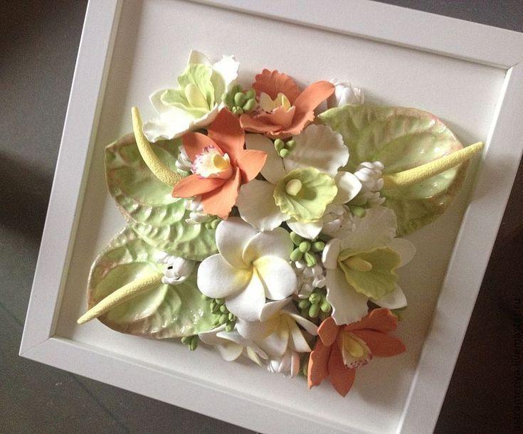 Купить Панно с тропическими цветами из полимерной глины - салатовый, белые цветы, тропические цветы