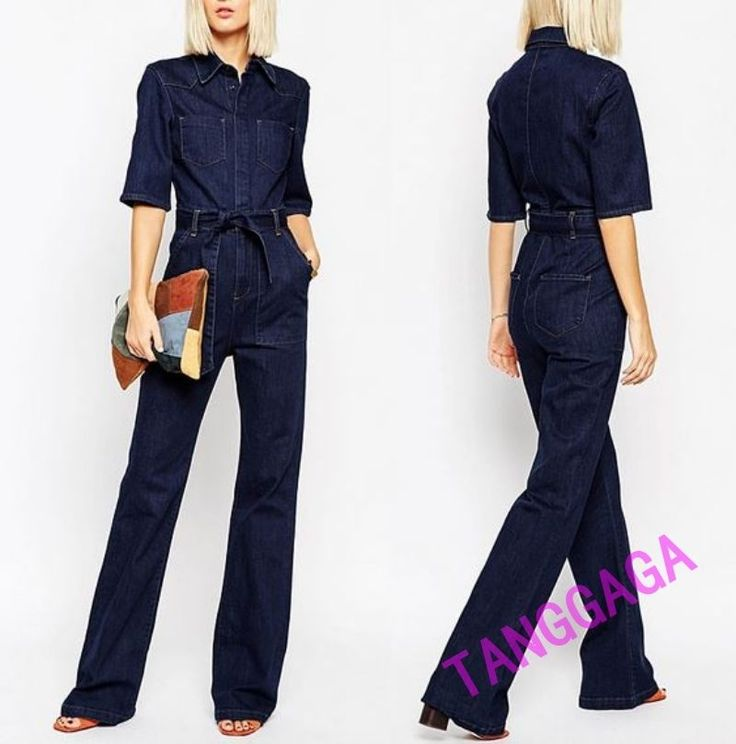Fashion Womens Casual Jeans Pants Denim Overall Slim Work Jumpsuit Trousers