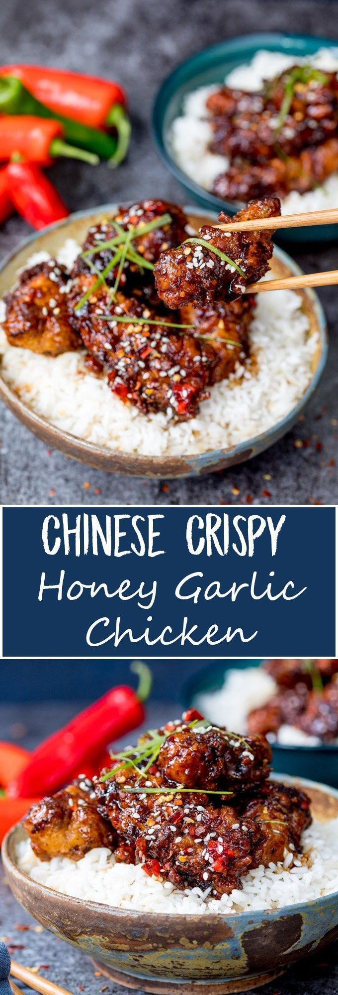 This Chinese Crispy Chicken with Honey Garlic Sauce is one of those meals everyone loves! Easy to make spicy or mild. Way tastier than takeout! #chinesefoodrecipes