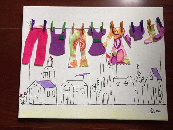 Clotheslines over the city  Canvas art by Pabadepoem on Etsy