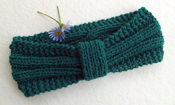 FREE SHIPPING Knit Headband Turban in Petrol by Need4KnitShop