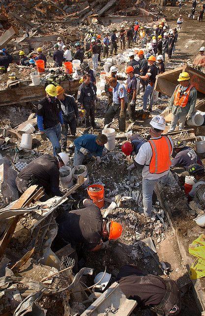 World Trade Center 9/11, the bucket brigade.                                                     9/11 ~ Never Forget!!