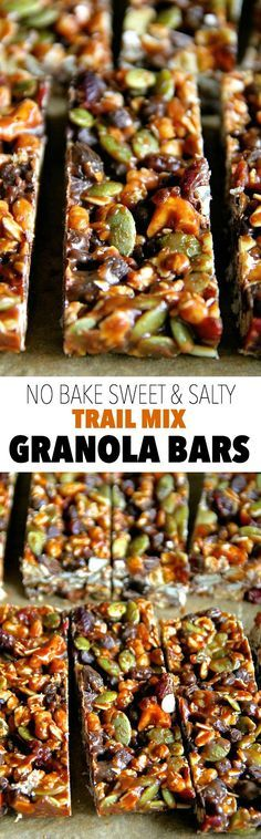 No Bake Trail Mix Granola Bars -- sweet, salty, chewy, and crisp, these granola bars are sure to satisfy any craving!    #glutenfree #vegan #backtoschool #lunchbox #snack