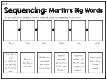This worksheet is all about sequencing that goes along with the book; MARTIN'S BIG WORDS by Doreen Rappaport. The worksheet can be used in centers, to assess or reinforce the skill, or just to accompany the book. There are six events from the books that need to be cut apart and placed in order within the diagram.  Note - Most of these event occur in most books concerning Martin Luther King Jr. so it will work for most biographical books about him. ...