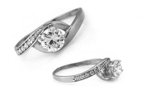 """Zásnubný prsteň,, Elise 7"""" biele zlato"""
