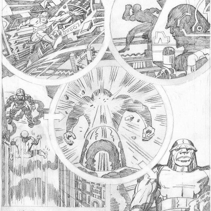 Detail of Kirbys phenomenal action storytelling skills in Super Powers #1980s Galactic jerk Darkseid zaps The Flash with his Omega Beams The Prize is Earth!!!  #dc #superhero #jackkirby #comicart #pencils