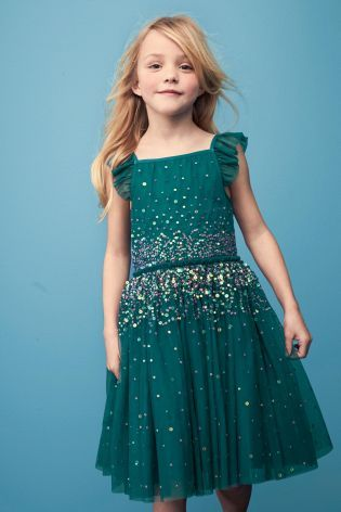 Buy Teal Embellished Dress (3-14yrs) online today at Next: Russia   @giftryapp