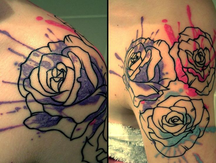 Ink and Roses shoulder tattoo by Angus at LDF Tattoo, Sydney. Possible add to my flowers?