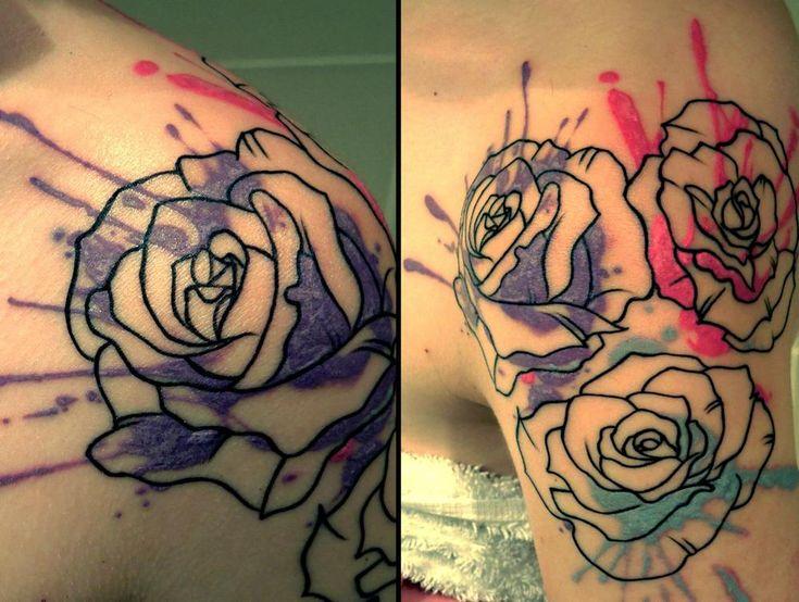 paint splatter rose tattoo shoulder placement