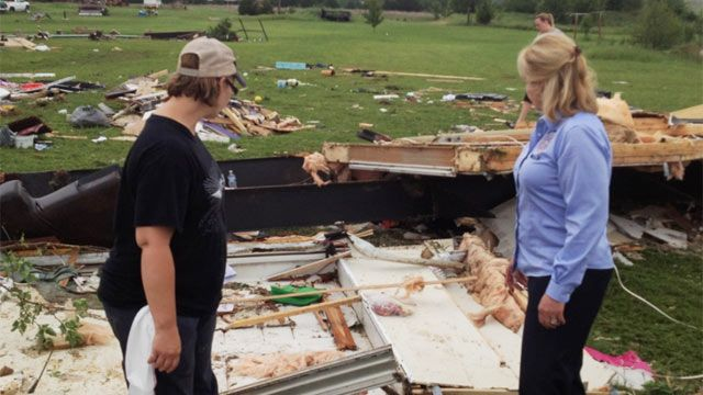 Carney Tornado Pics | Governor visiting with Carney resident who lost her home. [Governor ...