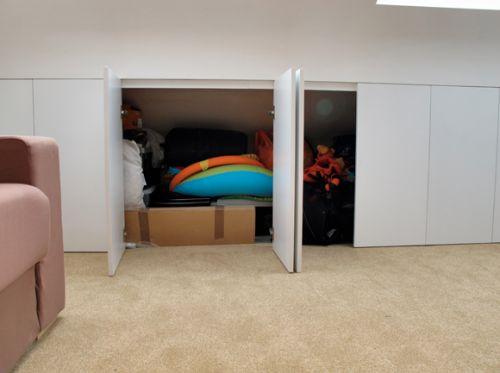 Built in storage under eaves