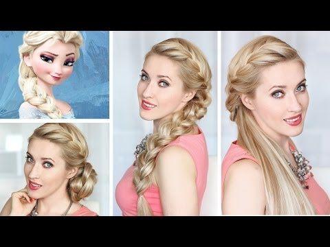 Tuto coiffure tresse africaine sur le coté d'Elsa de la Reine des Neiges, demi chignon - YouTube