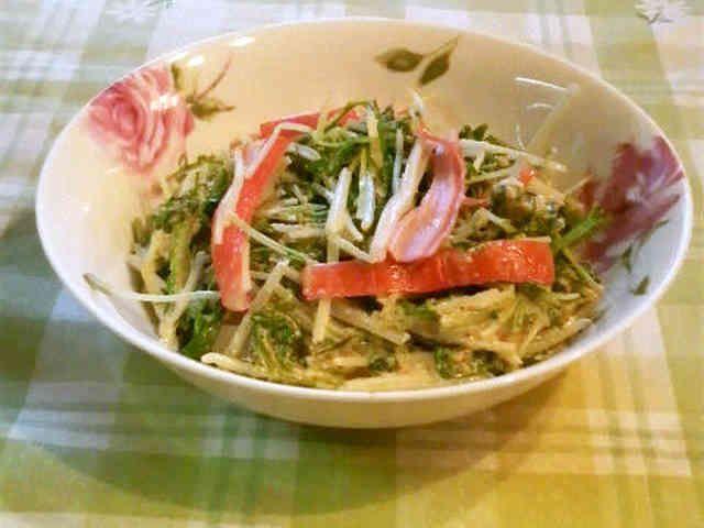 ゴマドレッシングで水菜サラダの画像