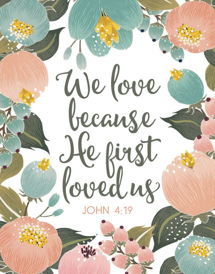 $5.00 Bible Verse Print - We love because He first loved us John 4:19  Jesus set the example of how to love. He has no conditions to His love. As we grow in our walk with God we learn how to love like Him and it pours out on others around us. When those people experience His kind of love through us their hearts are filled and His love pours out on people around them- Different size options available. #welovebecausehefirstloveus #1john4 #bibleverse #christiandecor #christiangifts