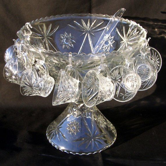Vintage Early American Prescut Punch Bowl Set - This EAPC (also known as Star Of David) set by Anchor Hocking is still in its box and comes with a punch bowl, stand, ladle, 12 cups and 10 cup hangers.