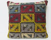 20x20 kilim pillow 20x20 large antique pillow case large cushion cover large outdoor pillow large bohemian pillow handloom pillow gold 20823