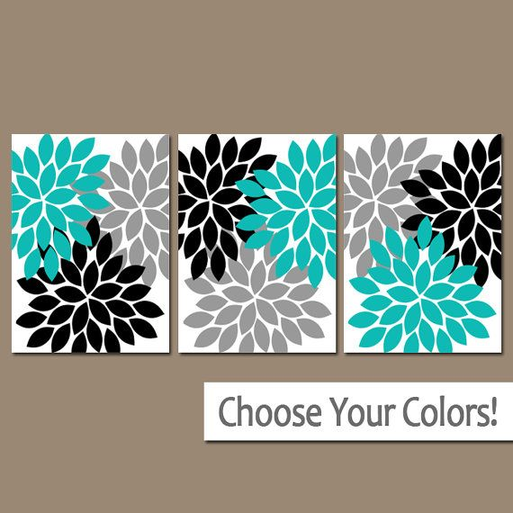 ★Wall Art Artwork Turquoise Black Gray White Flower Burst Dahlia Set of 3 Trio Prints Wall Decor Bedroom Bathroom Three  ★Includes 3 pieces of wall art
