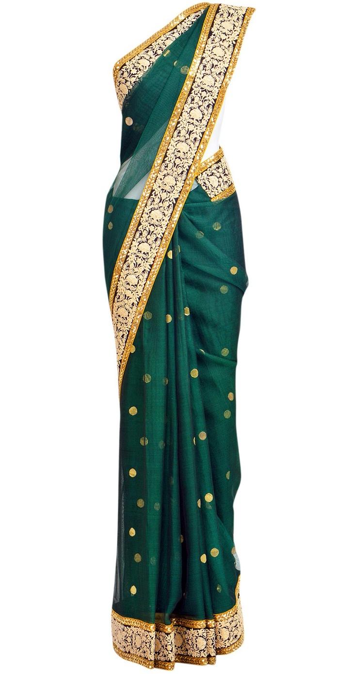 SABYASACHI Green chanderi sari with red bird pallu. Even though I have no where…