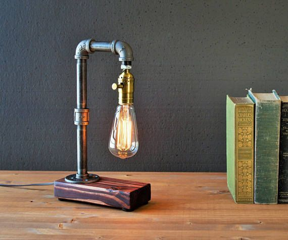 Home decor/Edison lamp/Rustic decor/Unique Table lamp/Industrial pipe lamp/Steampunk light/housewarming gift/gift for men/bedside lamp/desk accessories ☆CRAFTSMEN NOTES: Industrial Rustic Edison table - desk lamp. This is a well made sturdy piece that will last you for years! The Edison