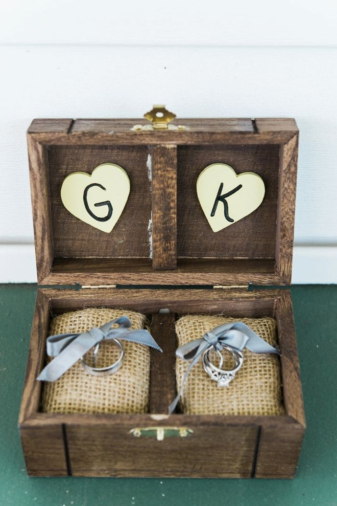DIY gray wedding ring holder box