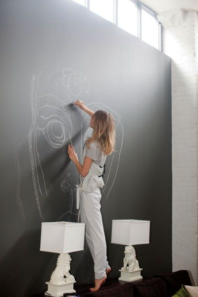 Blackboard wall ....we have one in the kitchen, love it in the living room