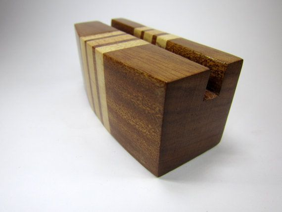 Business card holder, recycled wood card stand, office desk accessories, office organizer, gift idea for him, office decor