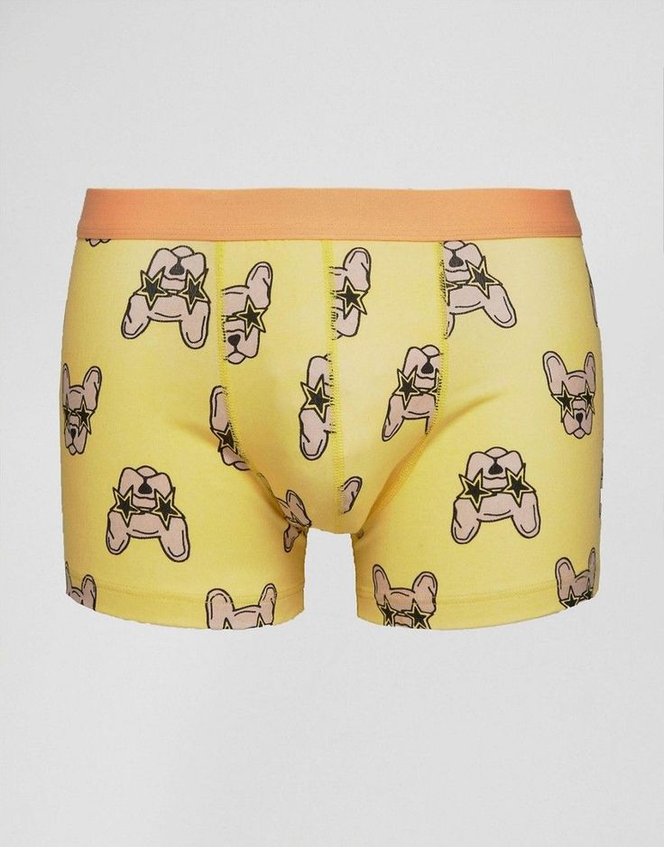 ASOS Trunks With Pug In Sunglasses Design - Yellow
