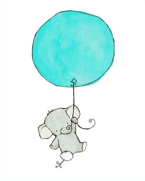 etsy - trafalgar's square - baby nursery - art print - flying high - elephant with balloon - aqua