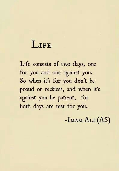 Imam Ali on Life Yes...I'm having one of those high-flying manic like days today. But shouldn't we accept that as well? Embrace it?                                                                                                                                                      More