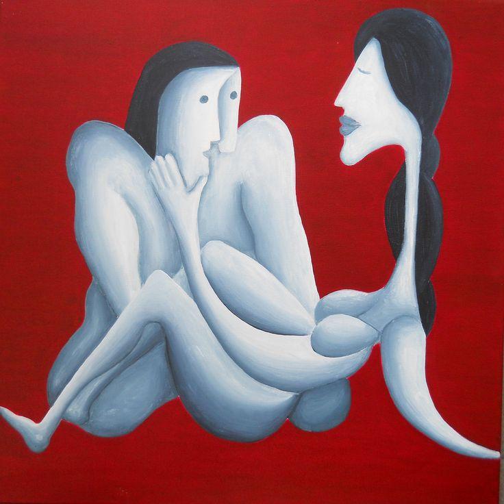 Endearment, acrylic on canvas, 50x50 cm, 2015,  from artist Peter Vamosi.