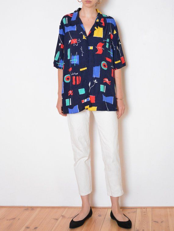 90s Floral Navy Blouse