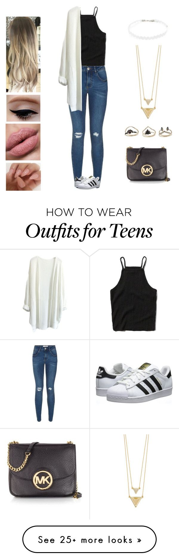 """""""Catch me"""" by kyndraxsvt on Polyvore featuring Abercrombie & Fitch, adidas Originals, Forever 21, House of Harlow 1960, Miss Selfridge and Michael Kors"""