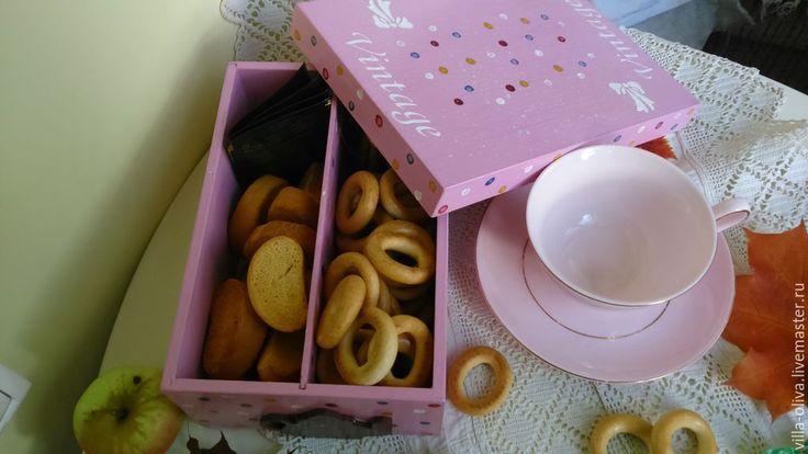 Купить Короб, чайная шкатулка Веселое настроение декупаж - розовый, винтаж, винтажный стиль, кухня