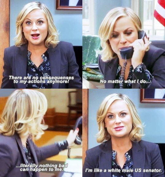 "Leslie knope parks and rec... ""I'm like a white male senator."""
