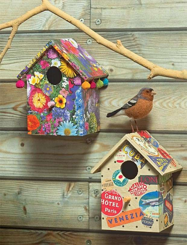 Get creative with paper, and design a unique bird box using your favourite pictures and prints. Follow this step-by-step guide to make your own and place it in a sheltered spot outside, or indoors as a decorative feature.