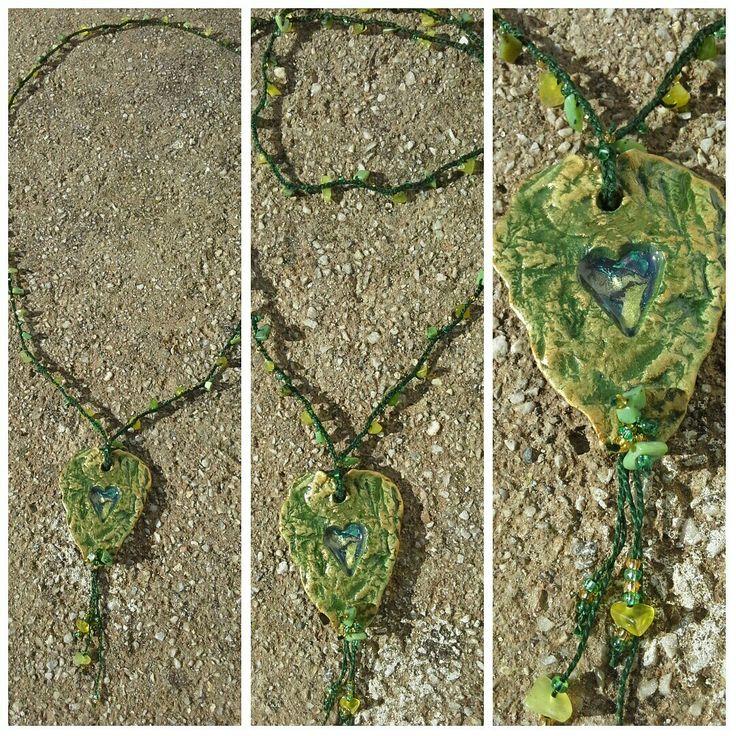 Crochet necklace with ceramic heart