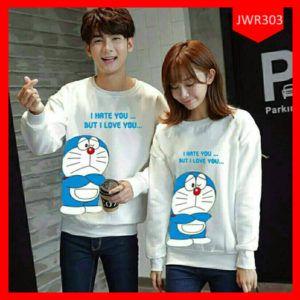 Sweater Couple Collection Doraemon Love Terbaru