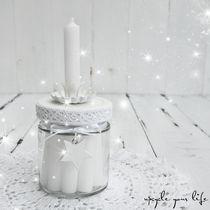 """kleines kerzenglas """"white christmas"""" mit halter & 10 kleinen, weißen kerzen..."""