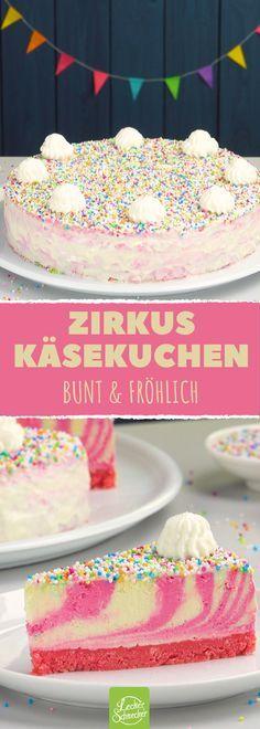 Bunter Kuchen-Spaß, der alle Augen strahlen lässt! #rezept #rezepte #cheesecake #käsekuchen #zirkus #rosa